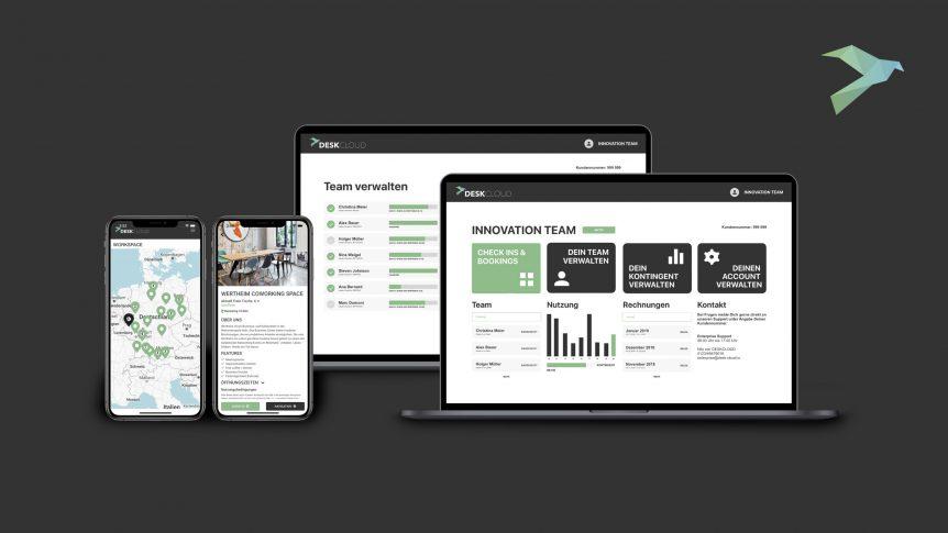 Das neue DESKCLOUD Team-Dashboard bietet viele leistungsstarke Funktionen für Coworking im Team